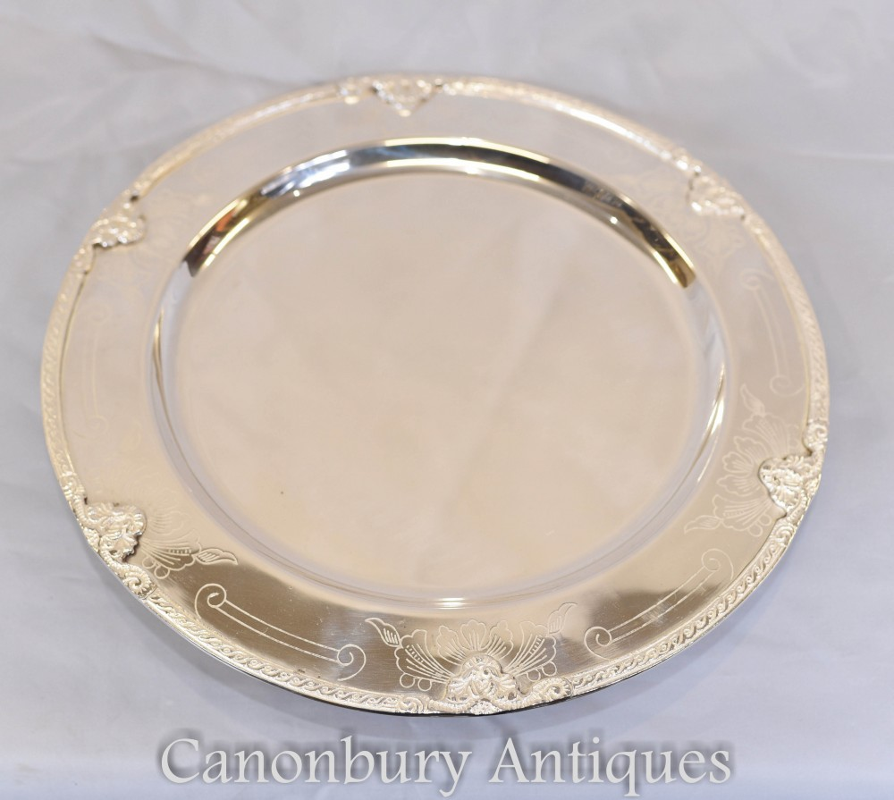 Set 12 Silver Plate Plates - Silverware Dinner Service