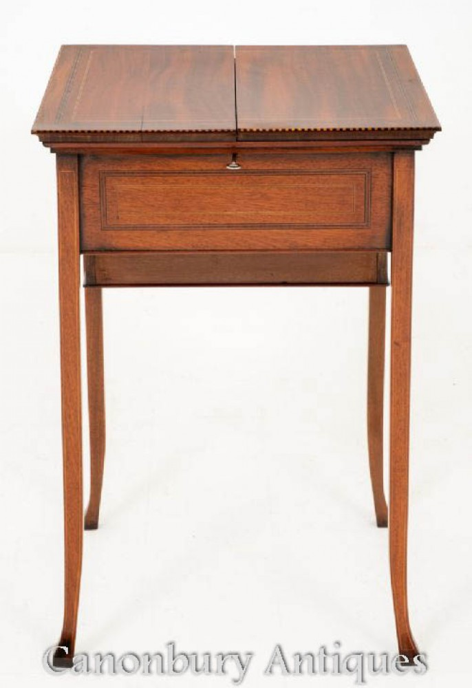 Sheraton Popup Writing Table Desk in Mahogany
