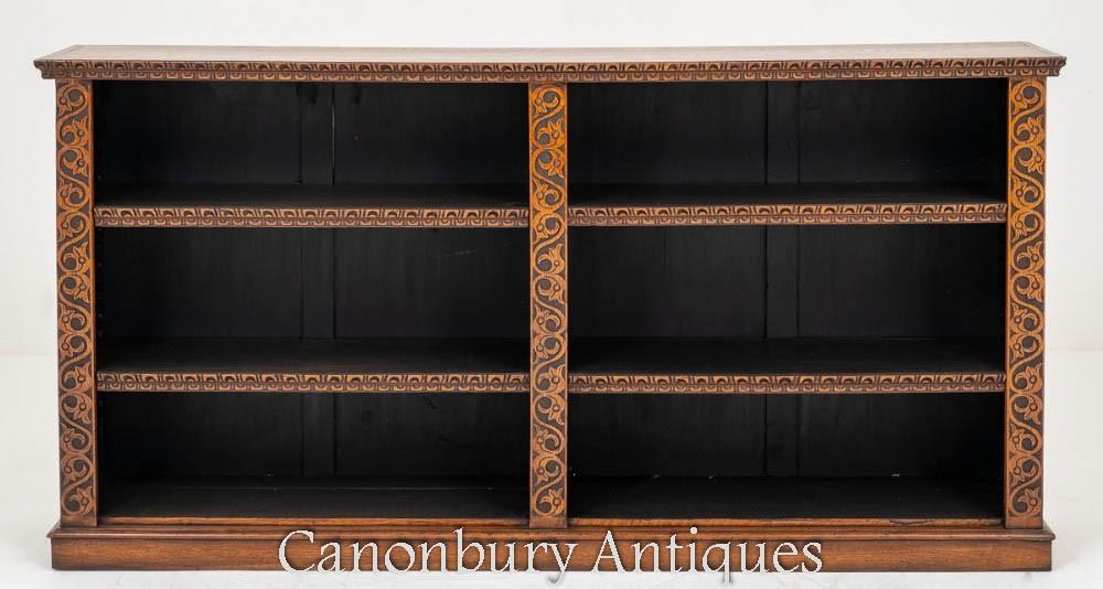 Victorian Open Bookcase Oak Antique 1860