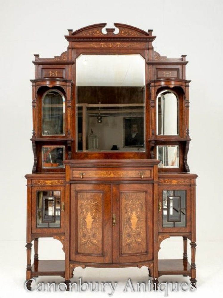 Victorian Sideboard Mirrored Cabinet in Rosewood 1890