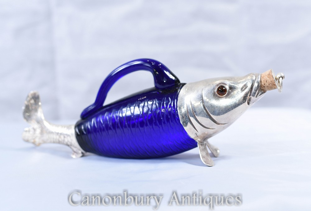 Victorian Silver Plate Glass Fish Bottle Decanter
