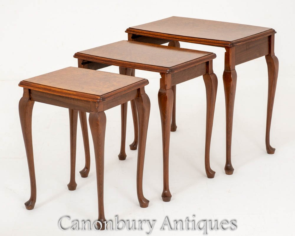 Walnut Nest of Tables Regency Sides