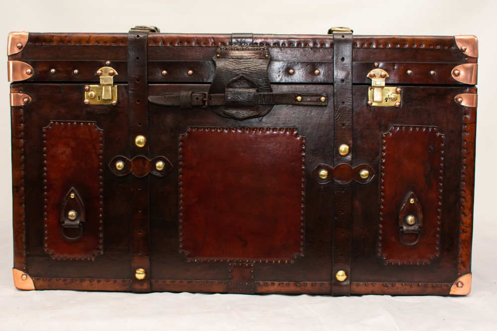 Leather Steamer Trunk Case - Vintage Travel Box Table