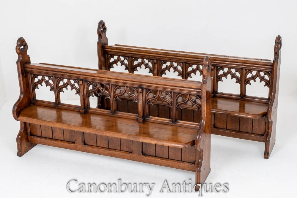 Pair Antique Church Pews - Victorian Gothic Bench 1860