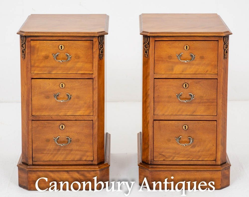 Pair Victorian Bedside Chests - Antique Satin Cabinets 1870