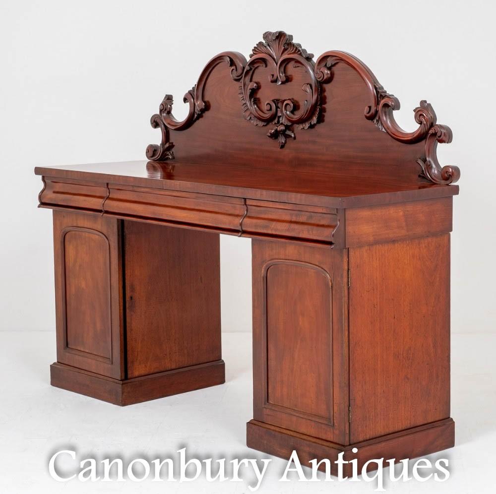 Victorian Sideboard - Mahogany Pedestal Server 1870