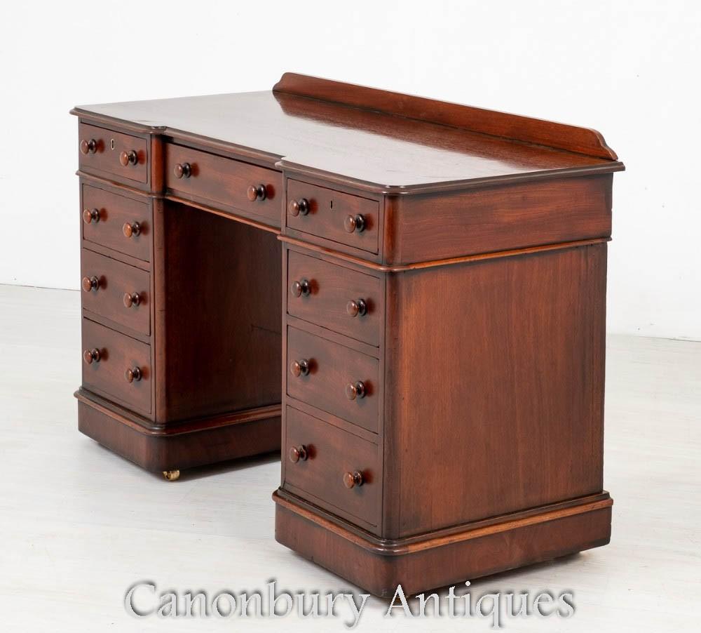 Antique Mahogany Pedestal Desk - Victorian Circa 1860