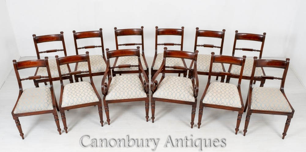 Set Regency Dining Chairs - Mahogany Antique Furniture