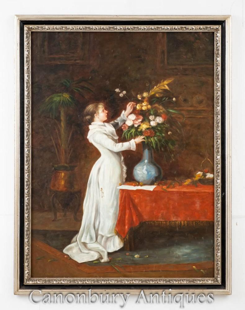 Victorian Oil Painting Flower Arrange Girl - Floral Portrait