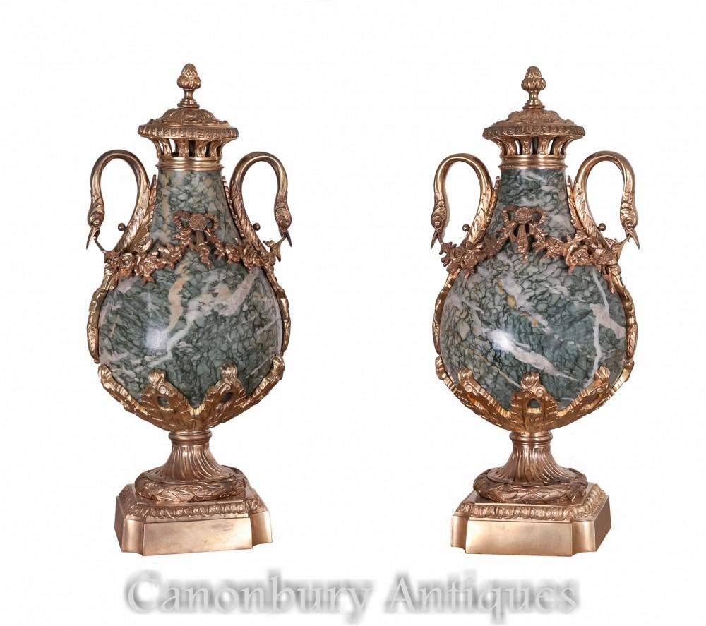 Antique Empire Cassoulets Urns - Pair Marble Swan Vases 1880