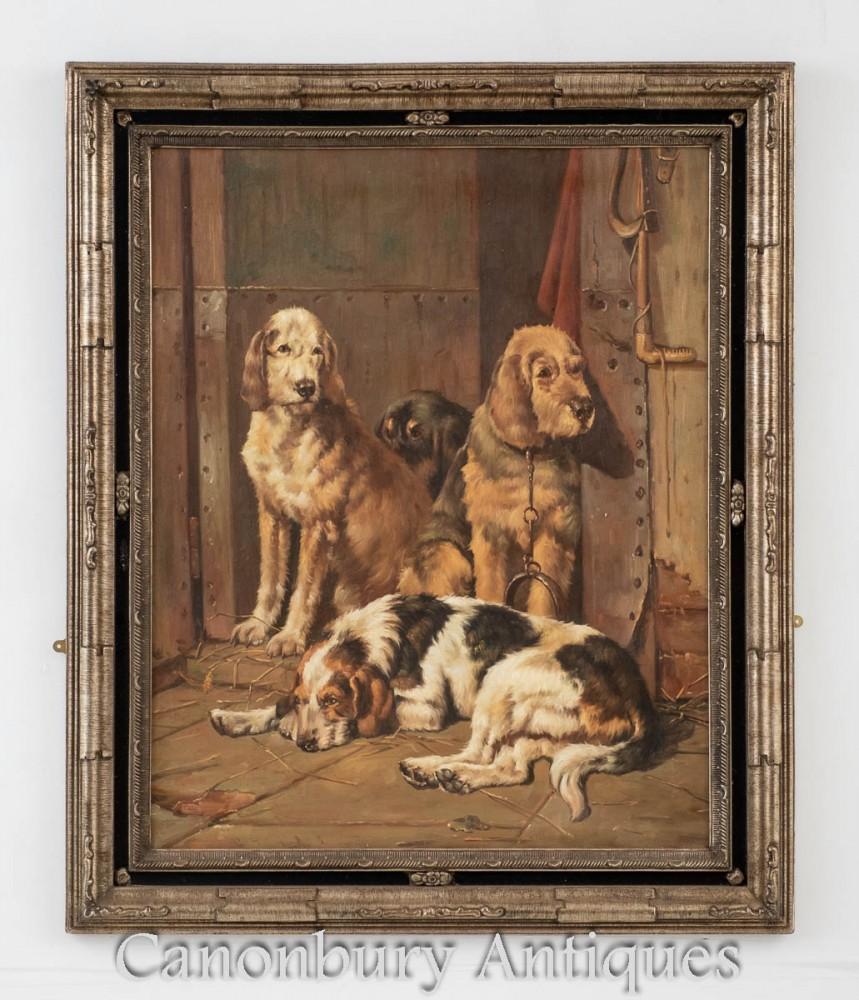 Dog Hunt Oil Painting Portrait - Victorian English Spaniel Hu