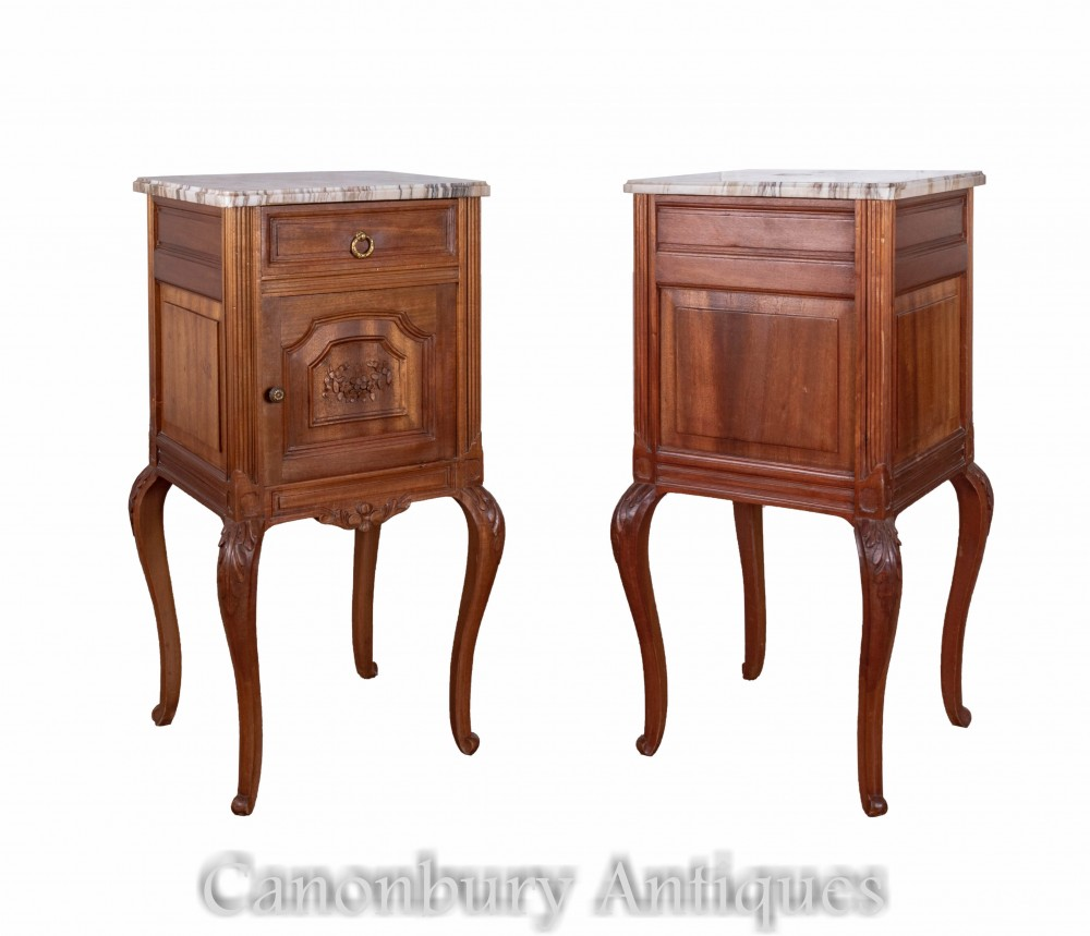 Pair French Bedside Cabinets - Antique Nightstands Circa 1890