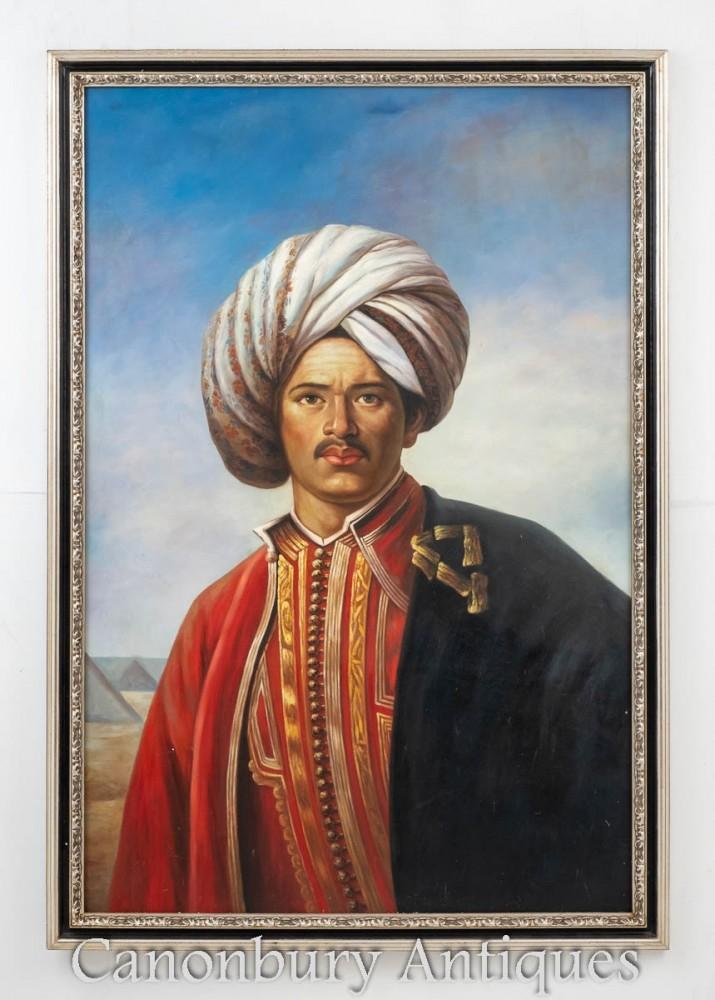 Victorian Oil Paint Sultan Portrait - Arabia Male Painting