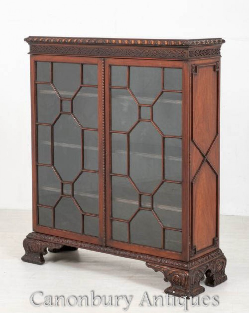 Antique Chippendale Display Cabinet - Mahogany Bookcase 1880