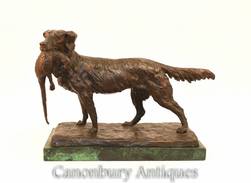 French Bronze Dog Hunt Scene - Pheasant Setter Hunting after Moigniez