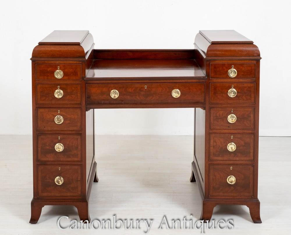 Georgian Mahogany Pedestal Sideboard Desk - Antique Server