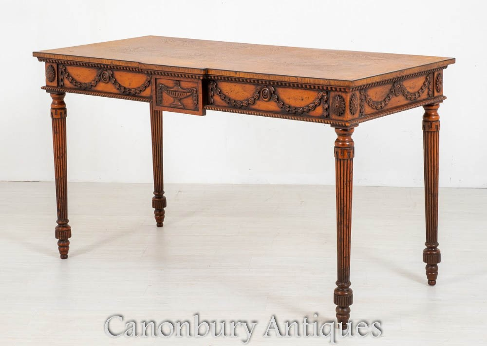 Hepplewhite Console Table - Carved Oak Inlay Antique