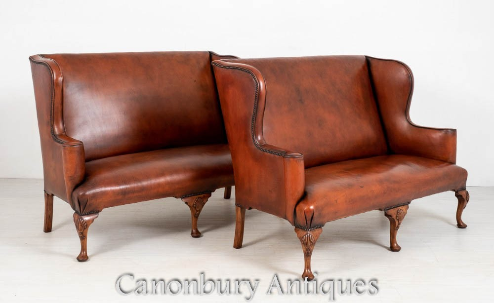 Pair Queen Anne Settee Sofa Leather Arm Chairs