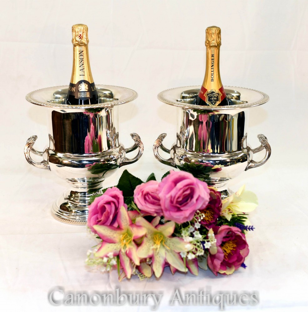 Pair Silver Plate Champagne Buckets - Plated Art Nouveau Wine Cooler Urns