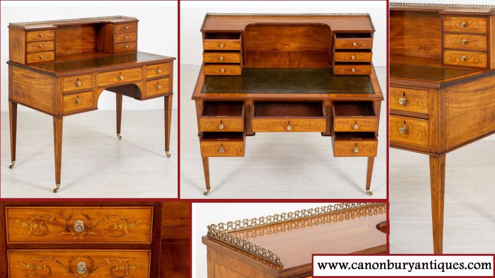 Sheraton Carlton House Desk - Satinwood Antique 1880